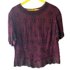 Papéll Boutique Silk Beaded Heavy Top 2X